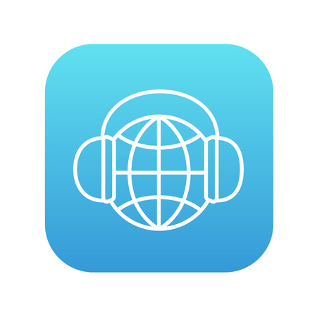 Globe in headphones line icon for web, mobile and infographics. Vector white icon on the blue gradient square with rounded corners isolated on white background. Illustration