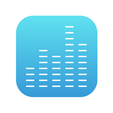 analyzer: Digital equalizer line icon for web, mobile and infographics. Vector white icon on the blue gradient square with rounded corners isolated on white background.
