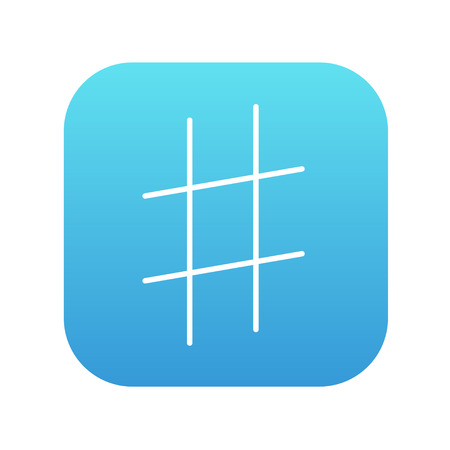 Hashtag symbol line icon for web, mobile and infographics. Vector white icon on the blue gradient square with rounded corners isolated on white background.