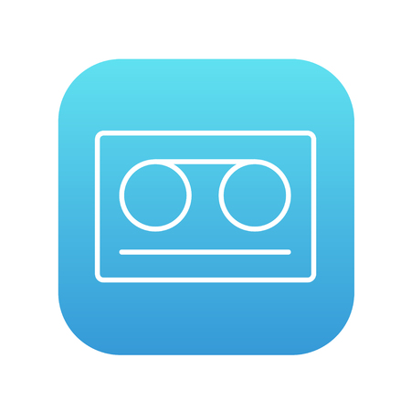 square tape: Cassette tape line icon for web, mobile and infographics. Vector white icon on the blue gradient square with rounded corners isolated on white background.