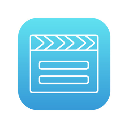 flick: Clapboard line icon for web, mobile and infographics. Vector white icon on the blue gradient square with rounded corners isolated on white background.