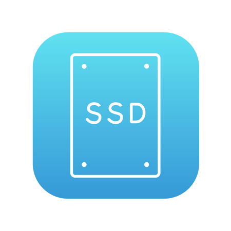 solid blue background: Solid state drive line icon for web, mobile and infographics. Vector white icon on the blue gradient square with rounded corners isolated on white background.