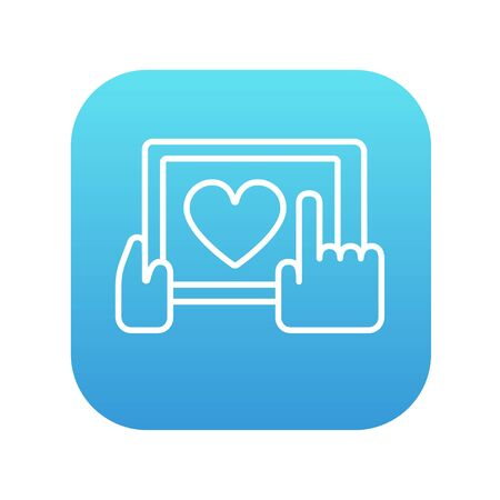 Smartphone with heart sign line icon for web, mobile and infographics. Vector white icon on the blue gradient square with rounded corners isolated on white background. Ilustração