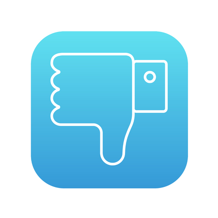 disapprove: Thumb down hand sign line icon for web, mobile and infographics. Vector white icon on the blue gradient square with rounded corners isolated on white background. Illustration