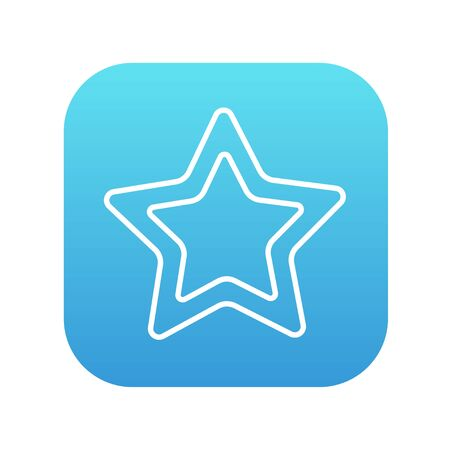 good judgment: Rating star line icon for web, mobile and infographics. Vector white icon on the blue gradient square with rounded corners isolated on white background.