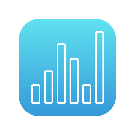 analyzer: Equalizer line icon for web, mobile and infographics. Vector white icon on the blue gradient square with rounded corners isolated on white background.