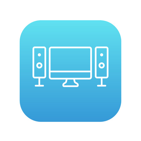 home cinema: Home cinema system line icon for web, mobile and infographics. Vector white icon on the blue gradient square with rounded corners isolated on white background.