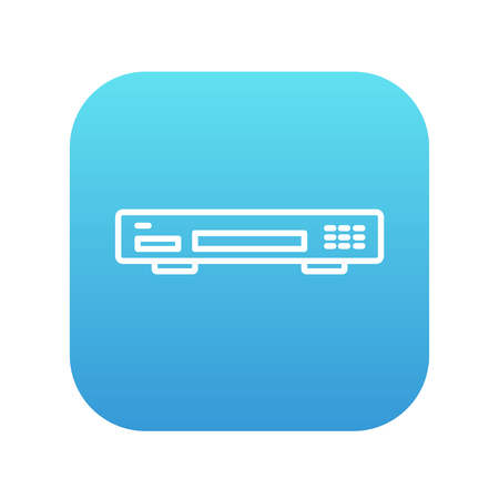 Video recorder line icon for web, mobile and infographics. Vector white icon on the blue gradient square with rounded corners isolated on white background. Illustration
