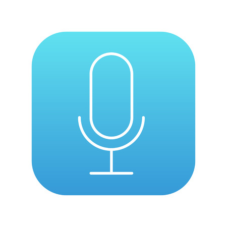 Retro microphone line icon for web, mobile and infographics. Vector white icon on the blue gradient square with rounded corners isolated on white background.