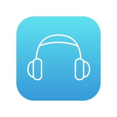 Headphone line icon for web, mobile and infographics. Vector white icon on the blue gradient square with rounded corners isolated on white background.