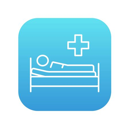 lying in bed: Patient lying on the bed line icon for web, mobile and infographics. Vector white icon on the blue gradient square with rounded corners isolated on white background. Illustration