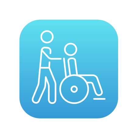 man pushing: A man pushing a wheelchair with a patient line icon for web, mobile and infographics. Vector white icon on the blue gradient square with rounded corners isolated on white background. Illustration