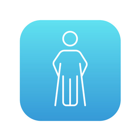 limp: Man with crutches line icon for web, mobile and infographics. Vector white icon on the blue gradient square with rounded corners isolated on white background.