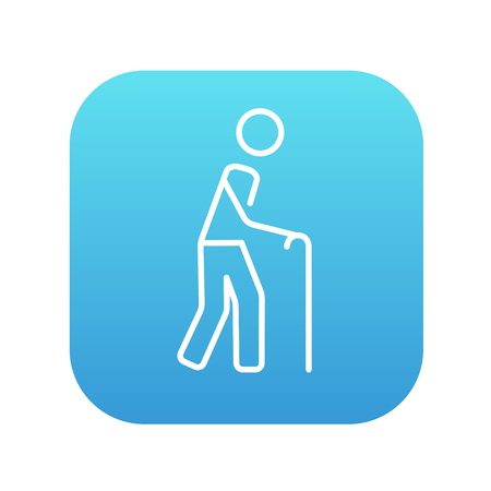 gerontology: Man walking with cane line icon for web, mobile and infographics. Vector white icon on the blue gradient square with rounded corners isolated on white background.