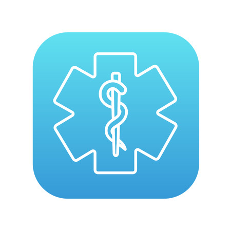 therapeutics: Medical symbol line icon for web, mobile and infographics. Vector white icon on the blue gradient square with rounded corners isolated on white background.