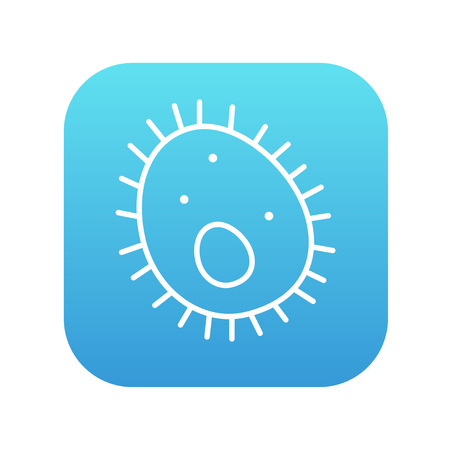 epidemiology: Bacteria line icon for web, mobile and infographics. Vector white icon on the blue gradient square with rounded corners isolated on white background. Illustration