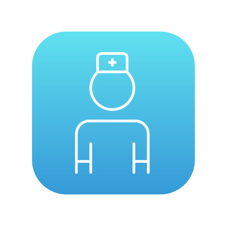medico: Nurse line icon for web, mobile and infographics. Vector white icon on the blue gradient square with rounded corners isolated on white background.