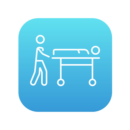 Man pushing stretchers with patient line icon for web, mobile and infographics. Vector white icon on the blue gradient square with rounded corners isolated on white background. Vectores