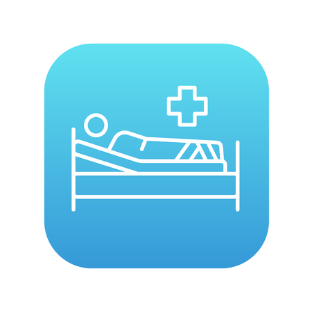 bedridden: Patient lying on the bed line icon for web, mobile and infographics. Vector white icon on the blue gradient square with rounded corners isolated on white background. Illustration