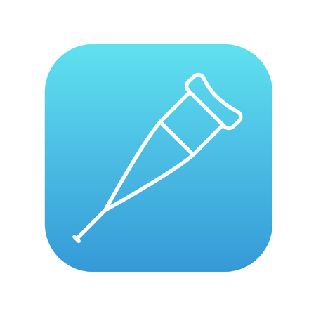 forearm: Crutch line icon for web, mobile and infographics. Vector white icon on the blue gradient square with rounded corners isolated on white background.