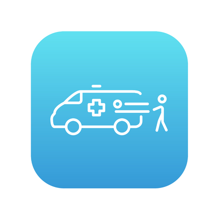 Man pushing stretchers with patient in ambulance car line icon for web, mobile and infographics. Vector white icon on the blue gradient square with rounded corners isolated on white background.