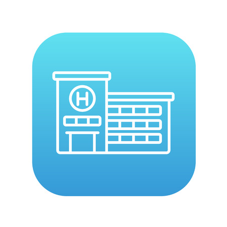Hospital building line icon for web, mobile and infographics. Vector white icon on the blue gradient square with rounded corners isolated on white background.