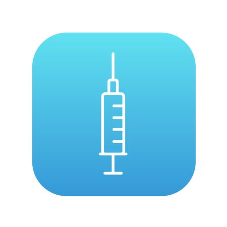 Syringe line icon for web, mobile and infographics. Vector white icon on the blue gradient square with rounded corners isolated on white background. Illustration