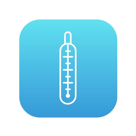 Medical thermometer line icon for web, mobile and infographics. Vector white icon on the blue gradient square with rounded corners isolated on white background.