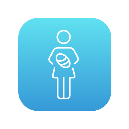 Woman holding the baby line icon for web, mobile and infographics. Vector white icon on the blue gradient square with rounded corners isolated on white background. Ilustracja