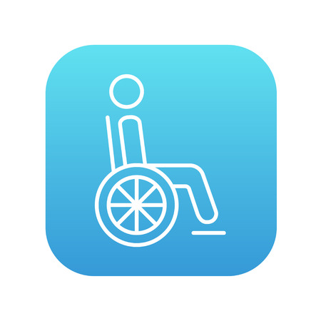 Disabled person sitting in the wheelchair line icon for web, mobile and infographics. Vector white icon on the blue gradient square with rounded corners isolated on white background. Illustration