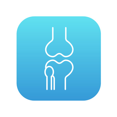 bursa: Knee joint line icon for web, mobile and infographics. Vector white icon on the blue gradient square with rounded corners isolated on white background.