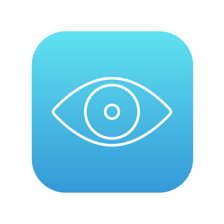 vision loss: Eye line icon for web, mobile and infographics. Vector white icon on the blue gradient square with rounded corners isolated on white background.