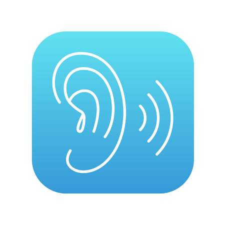 audible: Human ear line icon for web, mobile and infographics. Vector white icon on the blue gradient square with rounded corners isolated on white background.