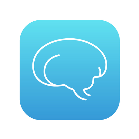 neuronal: Brain line icon for web, mobile and infographics. Vector white icon on the blue gradient square with rounded corners isolated on white background.