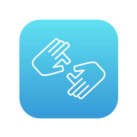 Finger language line icon for web, mobile and infographics. Vector white icon on the blue gradient square with rounded corners isolated on white background. Vettoriali