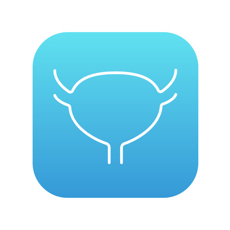 Urinary bladder line icon for web, mobile and infographics. Vector white icon on the blue gradient square with rounded corners isolated on white background.