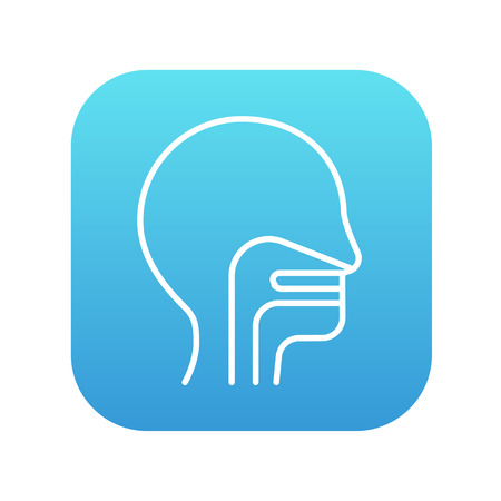 ear nose throat: Human head with ear, nose, throat system line icon for web, mobile and infographics. Vector white icon on the blue gradient square with rounded corners isolated on white background.