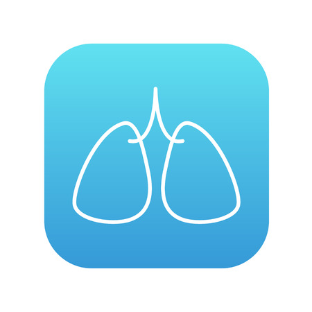 alveolus: Lungs line icon for web, mobile and infographics. Vector white icon on the blue gradient square with rounded corners isolated on white background.