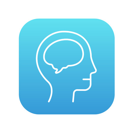 neuronal: Human head with brain line icon for web, mobile and infographics. Vector white icon on the blue gradient square with rounded corners isolated on white background. Illustration