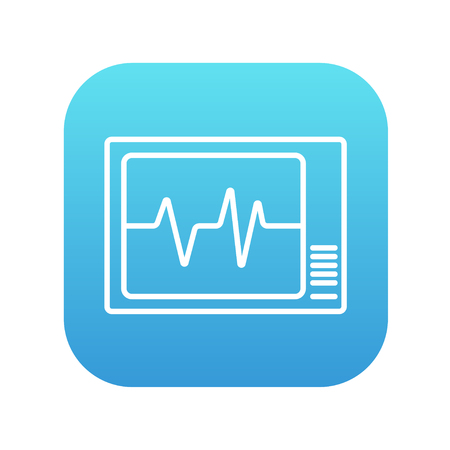 heart monitor: Heart monitor line icon for web, mobile and infographics. Vector white icon on the blue gradient square with rounded corners isolated on white background. Illustration