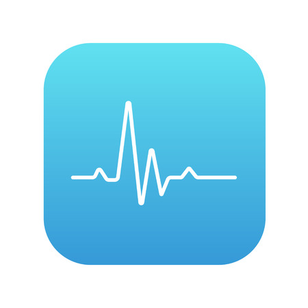 pulsating: Hheart beat cardiogram line icon for web, mobile and infographics. Vector white icon on the blue gradient square with rounded corners isolated on white background. Illustration