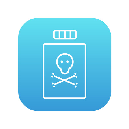 poison bottle: Bottle of poison line icon for web, mobile and infographics. Vector white icon on the blue gradient square with rounded corners isolated on white background.