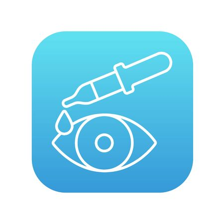 eye pipette: Pipette and eye line icon for web, mobile and infographics. Vector white icon on the blue gradient square with rounded corners isolated on white background.