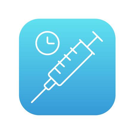 inyeccion intramuscular: Jeringa con el icono de l�nea de reloj para web, m�vil y la infograf�a. Vector icono de blanco en la plaza del gradiente de color azul con esquinas redondeadas aisladas sobre fondo blanco.