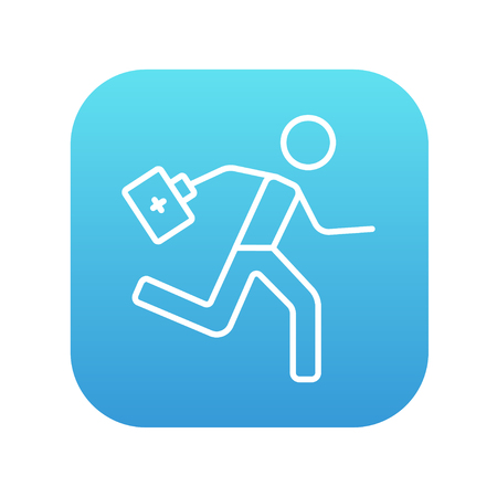 paramedic: Paramedic running with first aid kit line icon for web, mobile and infographics. Vector white icon on the blue gradient square with rounded corners isolated on white background.