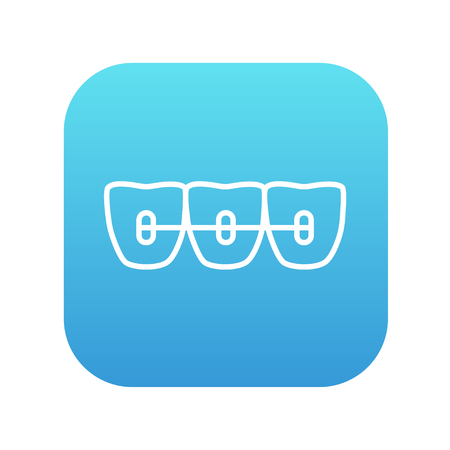 Orthodontic braces line icon for web, mobile and infographics. Vector white icon on the blue gradient square with rounded corners isolated on white background.