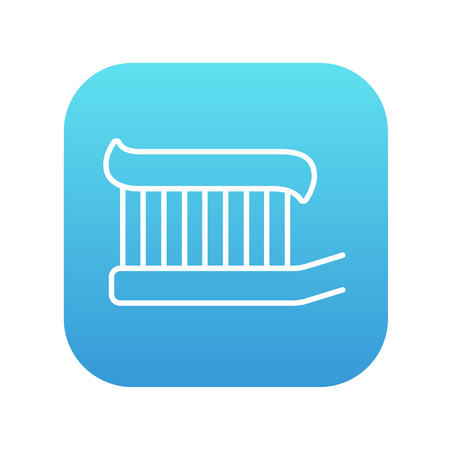 Toothbrush with toothpaste line icon for web, mobile and infographics. Vector white icon on the blue gradient square with rounded corners isolated on white background.