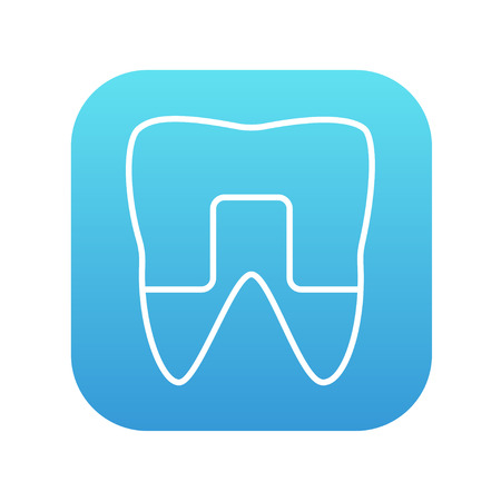 crowned: Crowned tooth line icon for web, mobile and infographics. Vector white icon on the blue gradient square with rounded corners isolated on white background.