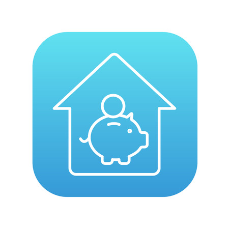 House savings line icon for web, mobile and infographics. Vector white icon on the blue gradient square with rounded corners isolated on white background.