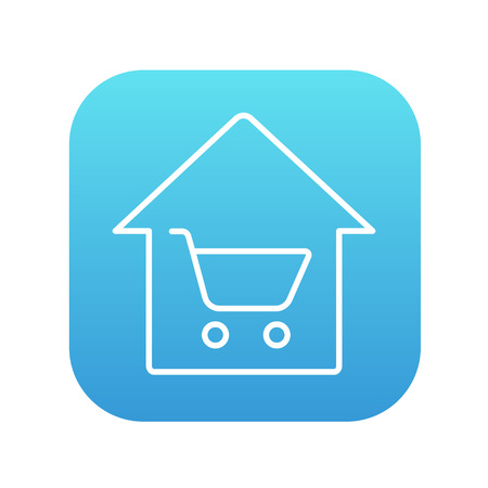 House shopping line icon for web, mobile and infographics. Vector white icon on the blue gradient square with rounded corners isolated on white background.